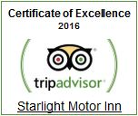 Starlight Motor Inn - TripAdvisor Certificate of Excellence 2016 Winner